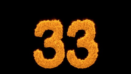 Number 33 burning with fiery orange flames