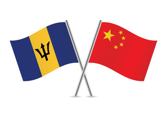 Chinese and Barbados flags. Vector illustration.
