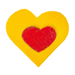 Yellow and red cardboard heart