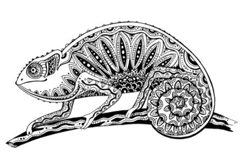picture of black and white chameleon lizard in tattoo style