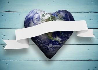 Composite image of heart shaped earth with scroll