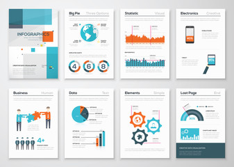 Big set of infographic elements in fresh flat business style