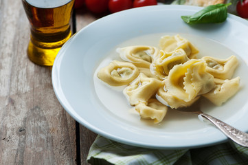 Italian traditional cooked tortellini on the table