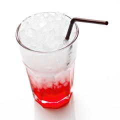 Strawberry Soda isolated on white background