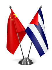 China and Cuba - Miniature Flags.