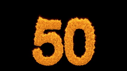 Decorative fiery number 50 for a golden jubilee