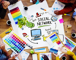 Social Network Social Media Designer Office Working Concept