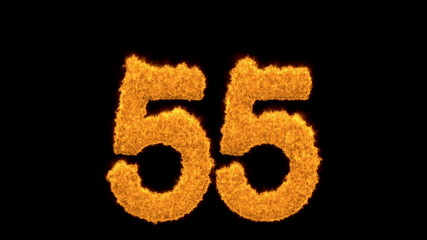 Fiery flaming number 55 on black