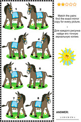 Picture puzzle - find the mirrored copy for every donkey image
