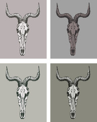 Hand Drawn Goat Skull