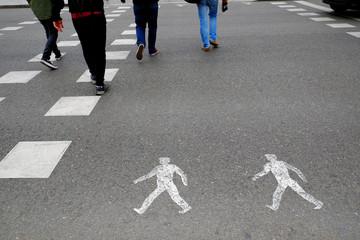 pedestrian lane on the banks of the Manzanares river