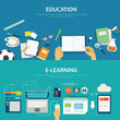 concepts of education and e-learning flat design - 81656206