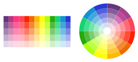 Color wheel and palette on white illustration