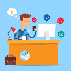 Technology concept - developer sitting at the table and working