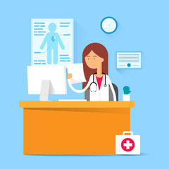 Medical concept - doctor sitting at the table in the office. Vec