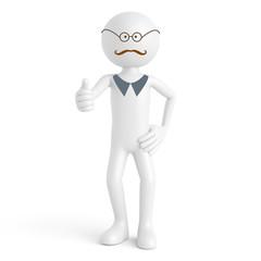 3D Mensch mit Bart und Brille hält Daumen hoch