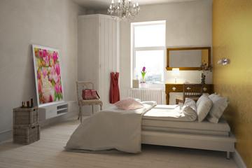 Schlafzimmer einer Frau mit Doppelbett