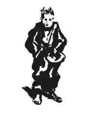 Boy begging. Ink sketsh for Dickens novel