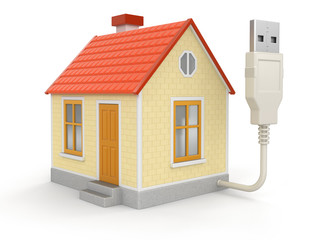 House and Computer Cable (clipping path included)