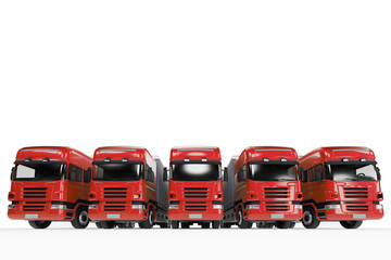 Flotte mit roten Trucks bei Spedition