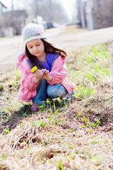 Little girl picking bunch of flowers