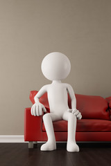 Menschlicher Charakter sitzt auf Sofa