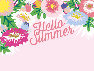 Hello Summer card with blank space. Vector design.