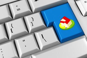 Haus als Symbol auf Tastatur