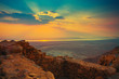 Beautiful sunrise over Masada fortress - 81657434