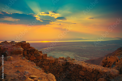 Fotobehang Rudnes Beautiful sunrise over Masada fortress
