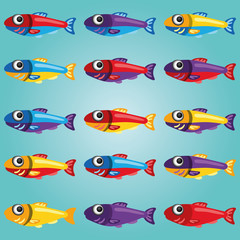 Set of Bright Cartoon Style Fishes