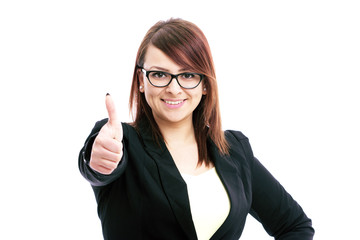 business woman showing sign