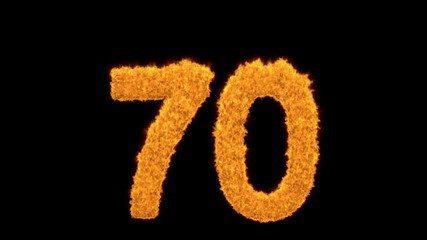 Number 70 in fiery burning digits on black