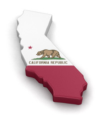 Map of California state with flag