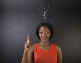 Bright idea lightbulb thinking African American woman teacher