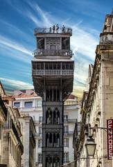 Historic elevator Santa Justa, lift in Lisbon, Portugal. Elevado