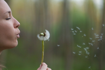 Young woman in the park holding blowing dandelion flower seed