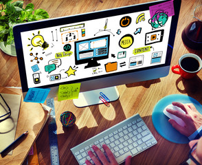 Businessman Web Design Digital Deviecs Working Concept