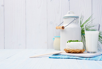 Chives, milk jug and cottage chease