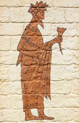 Greek wine drinker in toga - wall design