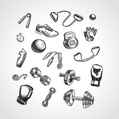 Fitness and gym vector accessories set. Hand drawn sports icon