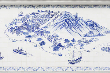 taipa island in macau painted on tiles