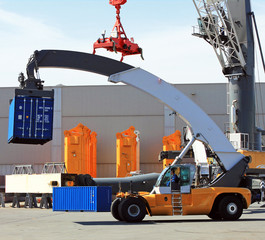 Container loader - reach stacker in the test area of Liebherr cr