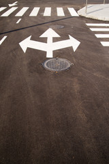 Road markings  on the asphalt road in the city