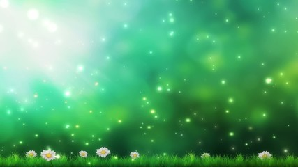 Nature background spring green leaves and flowers abstract bokeh