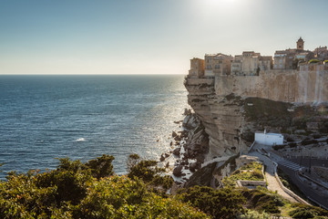 Citadel and houses of Bonifacio above towering white cliffs
