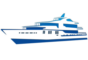 Blue silhouette of the yacht. Ship