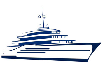 Blue silhouette of the yacht. Ship.