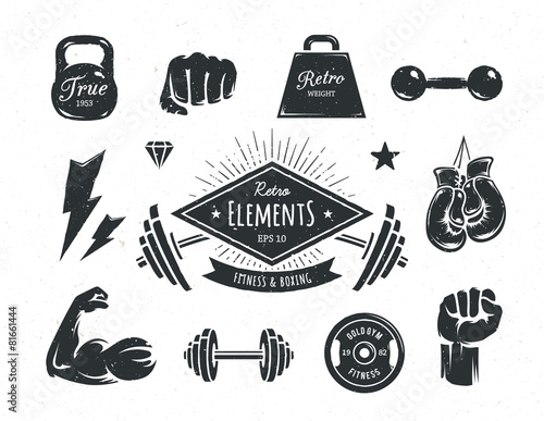 Retro Fitness Elements - 81661444