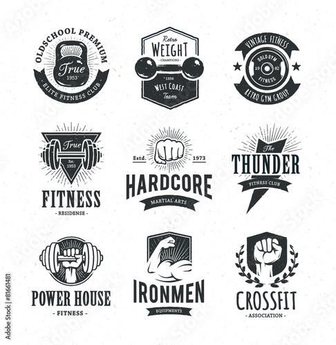 Fototapeta Retro Fitness Emblems